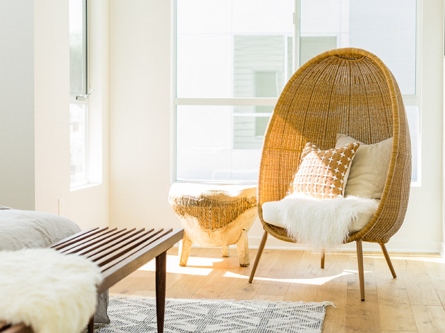 Modern Egg Shaped Wicker Chair With Sheepskin Midcentury Bedroom