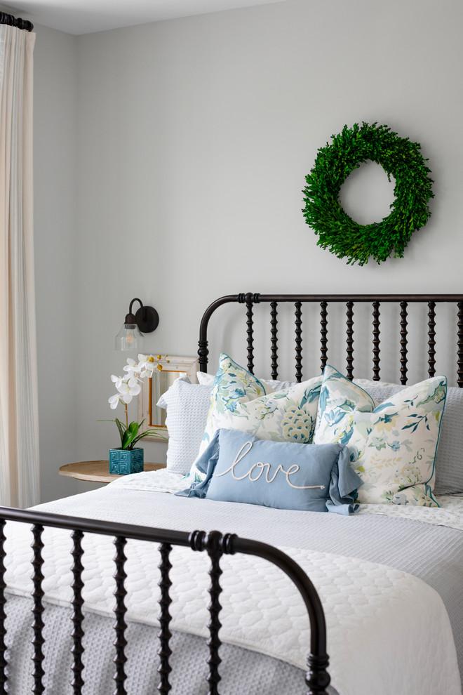 Mid-sized cottage guest dark wood floor and brown floor bedroom photo in DC Metro with green walls
