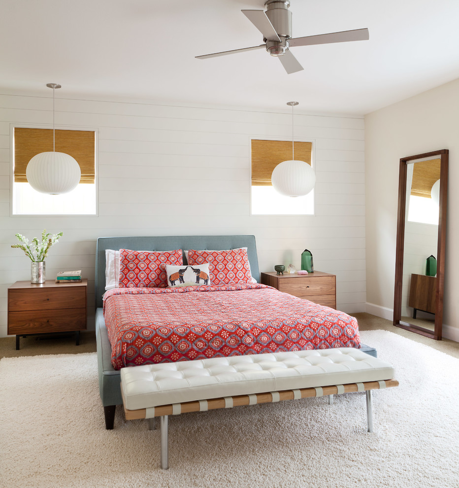 Example of a large cottage master carpeted and brown floor bedroom design in Denver with white walls and no fireplace