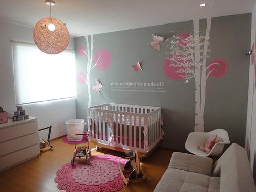 modern girl nursery, grey color girl's room