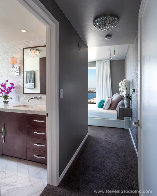 Modern glam downtown condo master san diego ca for Interior design 92101
