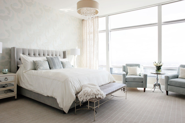 Great Modern Glam Luxury Condo Transitional Bedroom