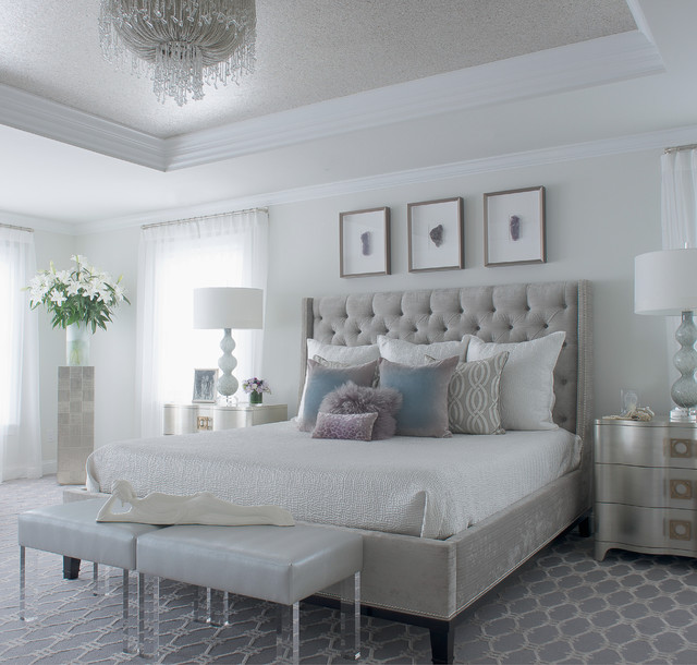 Modern Bedroom Gray modern glam - transitional - bedroom - new york -susan glick