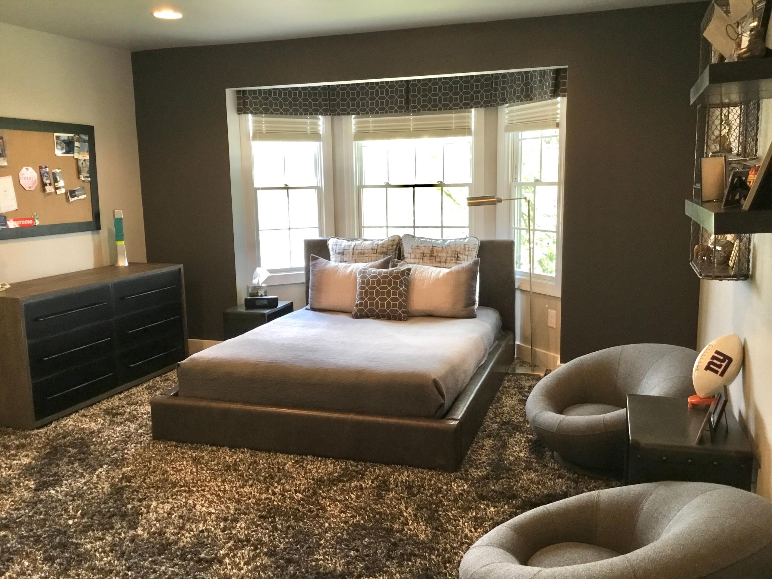 Modern Gray Boys Teen Bedroom