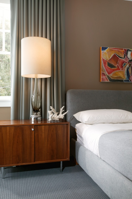 Modern grey bedroom midcentury bedroom new orleans - New orleans style bedroom decorating ideas ...