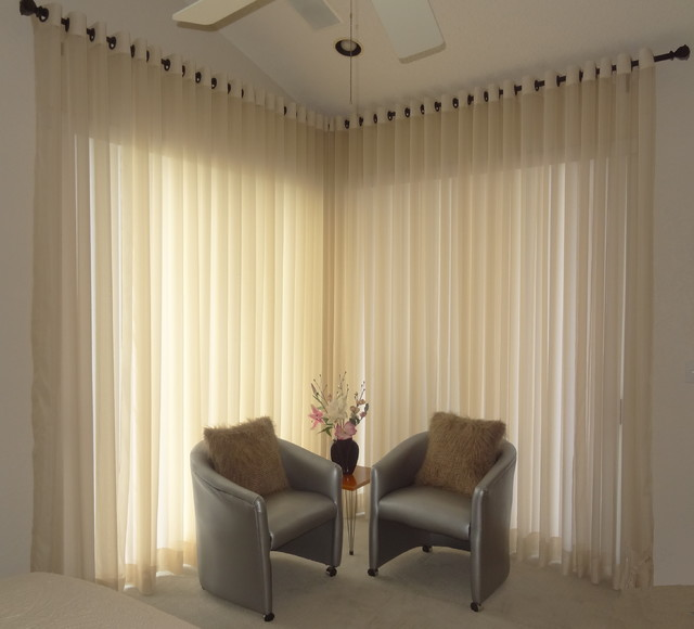 Modern Sheer Window Treatments Contemporary Bedroom