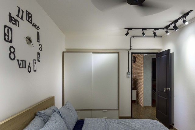 Modern Industrial Concept Hdb 5room Scandinavian: industrial scandinavian bedroom