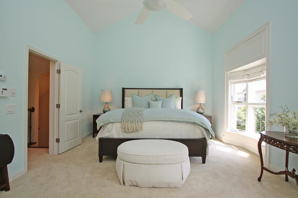Example of a large classic master carpeted and brown floor bedroom design in Atlanta with blue walls and no fireplace