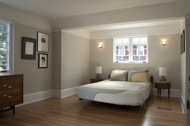 Inspiration For A Mid Sized Contemporary Master Medium Tone Wood Floor  Bedroom Remodel In Portland
