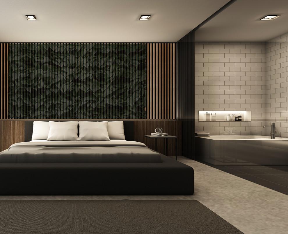 Large mid-century modern master painted wood floor and multicolored floor bedroom photo in Los Angeles