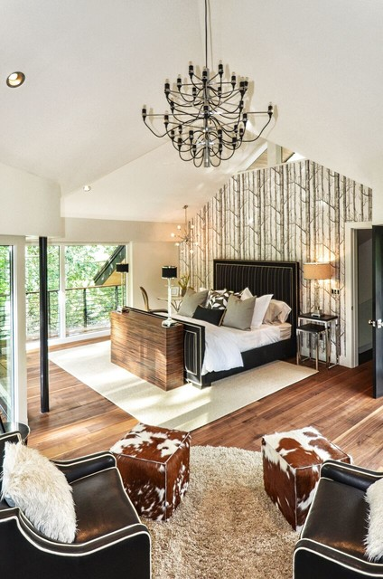 Modern Mountain Bedroom with TV Lift and black chandelier ...
