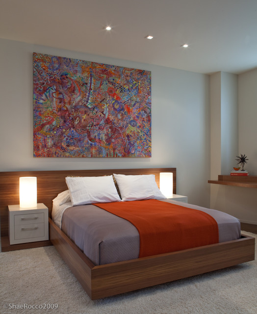 Modern Neutral Bedroom Wood + Orange Accents