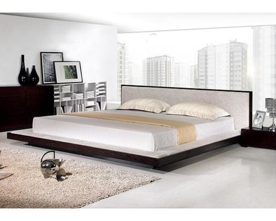 Modern Platform Bed with Fabric Headboard - Features: