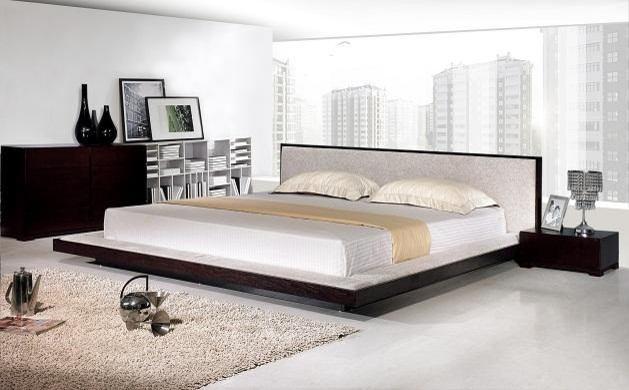 Modern Platform Bed with Fabric Headboard - Contemporary - Bedroom - other metro - by EuroLux ...