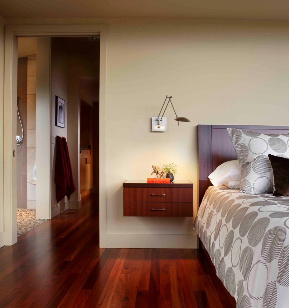 Inspiration for a large modern master medium tone wood floor bedroom remodel in Portland with beige walls