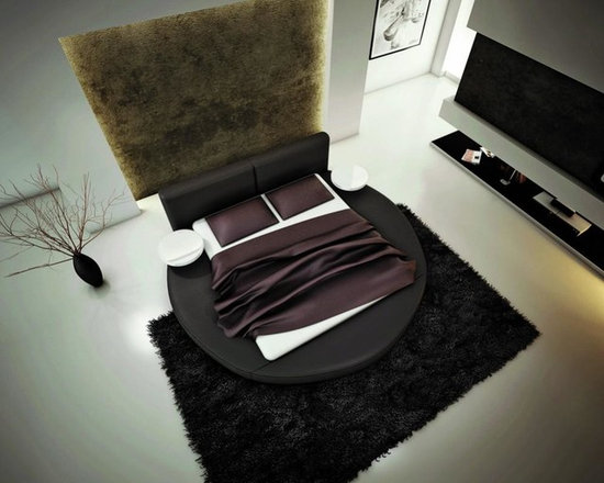 Modern Round Bed in Black Bonded Leather - Features: