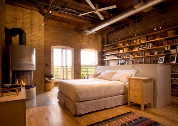 Modern Rustic Loft Contemporary Bedroom Minneapolis