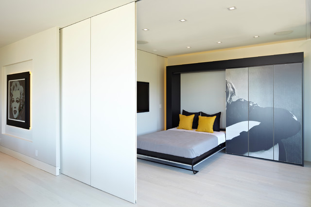 Murphy Bed Design Ideas interior design for space saving furniture ideas maxresdefault Example Of A Mid Sized Trendy Guest Bedroom Design In Los Angeles With White Walls