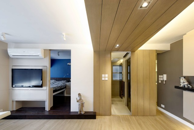 Modern small warm apartment contemporary bedroom for Home design ideas hong kong