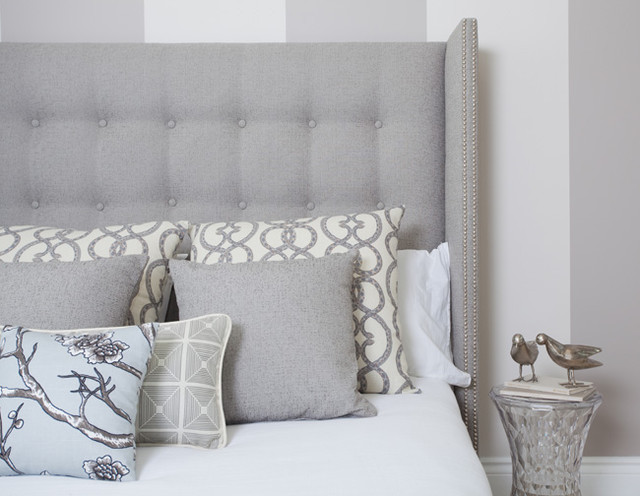Modern Studded Wing Headboard in Dwell Studio Tonal Tweed modern bedroom