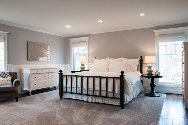 Modern White and Light Gray Master Bedroom - Modern - Bedroom ...