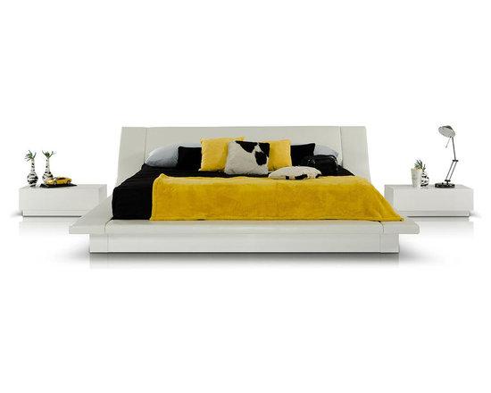 Modern White Platform Bed - Features: