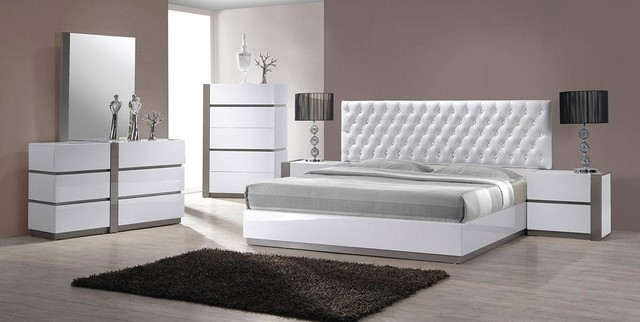 Modern White Tufted Headboard Bed Group - Contemporary - Bedroom ...