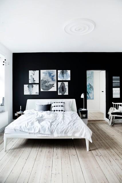 Monochrome Bedroom Design - White Bed skandinavisk-sovrum