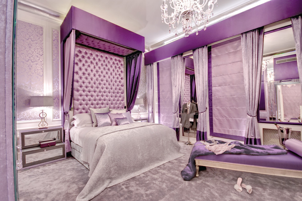 Bedroom - large contemporary master carpeted bedroom idea in London with purple walls and no fireplace