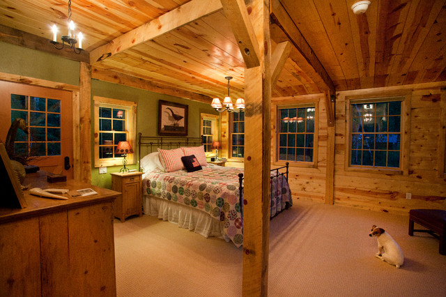 Montana lodge themed barn home traditional bedroom for Cabin themed bedroom ideas