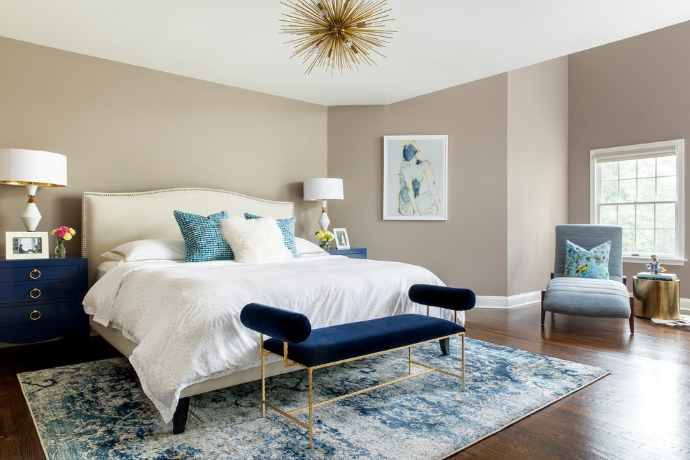 Inspiration for a transitional master dark wood floor bedroom remodel in New York with gray walls