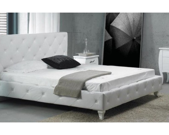 Monte Carlo - White Leatherette Modern Bed with Crystals - Features: