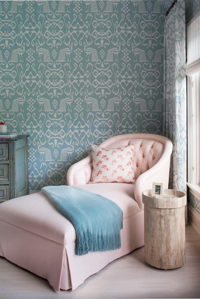Bedroom - coastal light wood floor bedroom idea in Seattle with blue walls