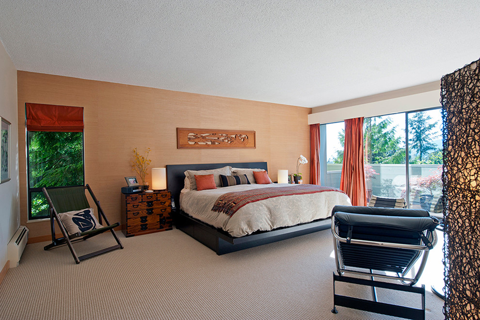 Example of a large asian master carpeted and beige floor bedroom design in Vancouver with beige walls and no fireplace