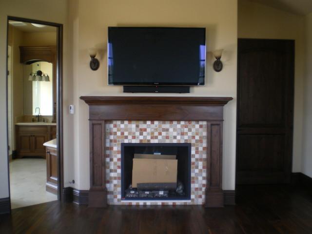 Mosaic Tile Fireplace Surround Mediterranean Bedroom