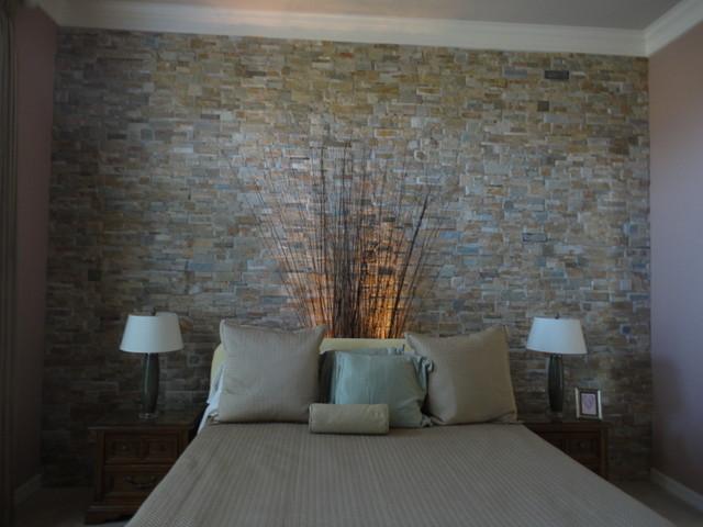 Mosaic Tile Wallmodern Bedroom Houston