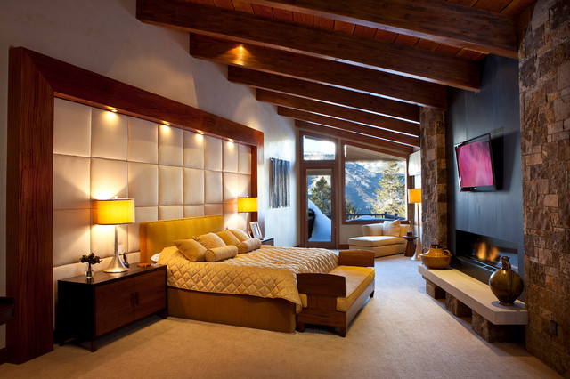 Mountain contemporary cabin contemporary bedroom san for Mountain modern bedroom