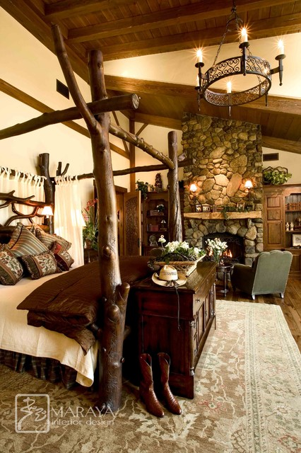 Mountain Home Master Bedroom With Log Bed Farmhouse