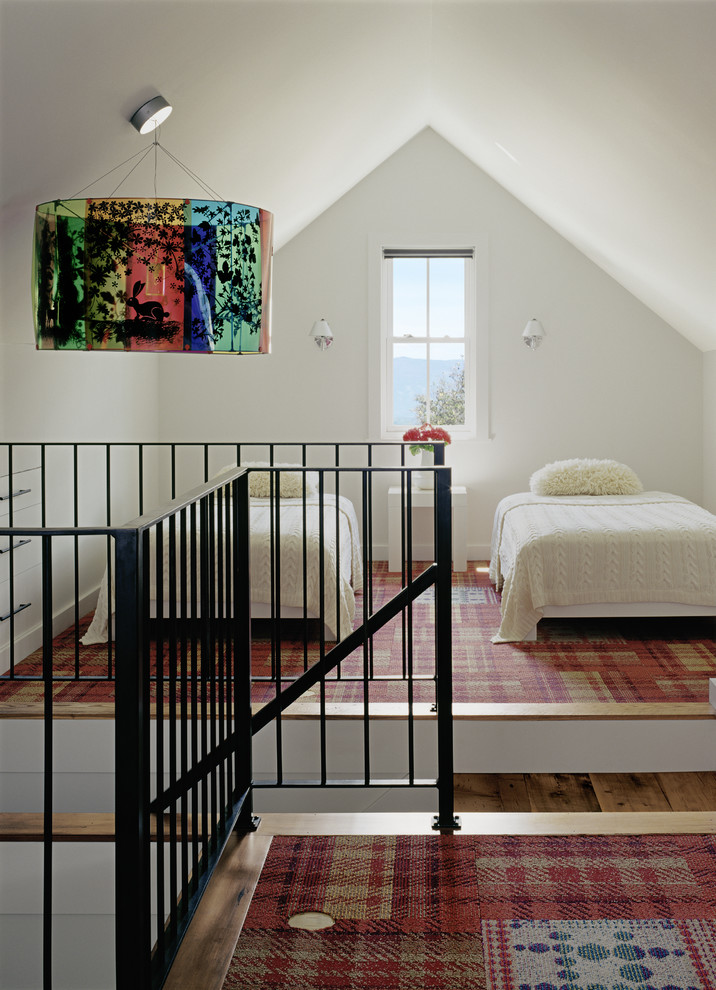Inspiration for a transitional loft-style carpeted bedroom remodel in Denver