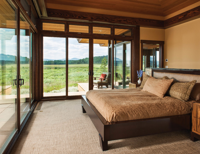 Mountain modern log home the hahn 39 s peak residence for Mountain modern bedroom