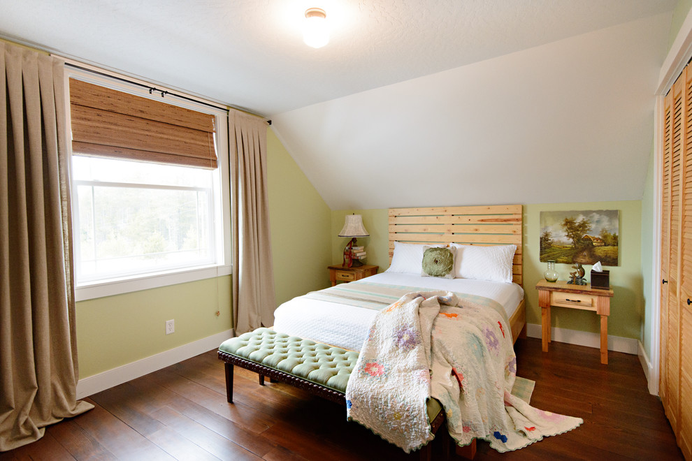 Bedroom - traditional bedroom idea in Seattle with green walls