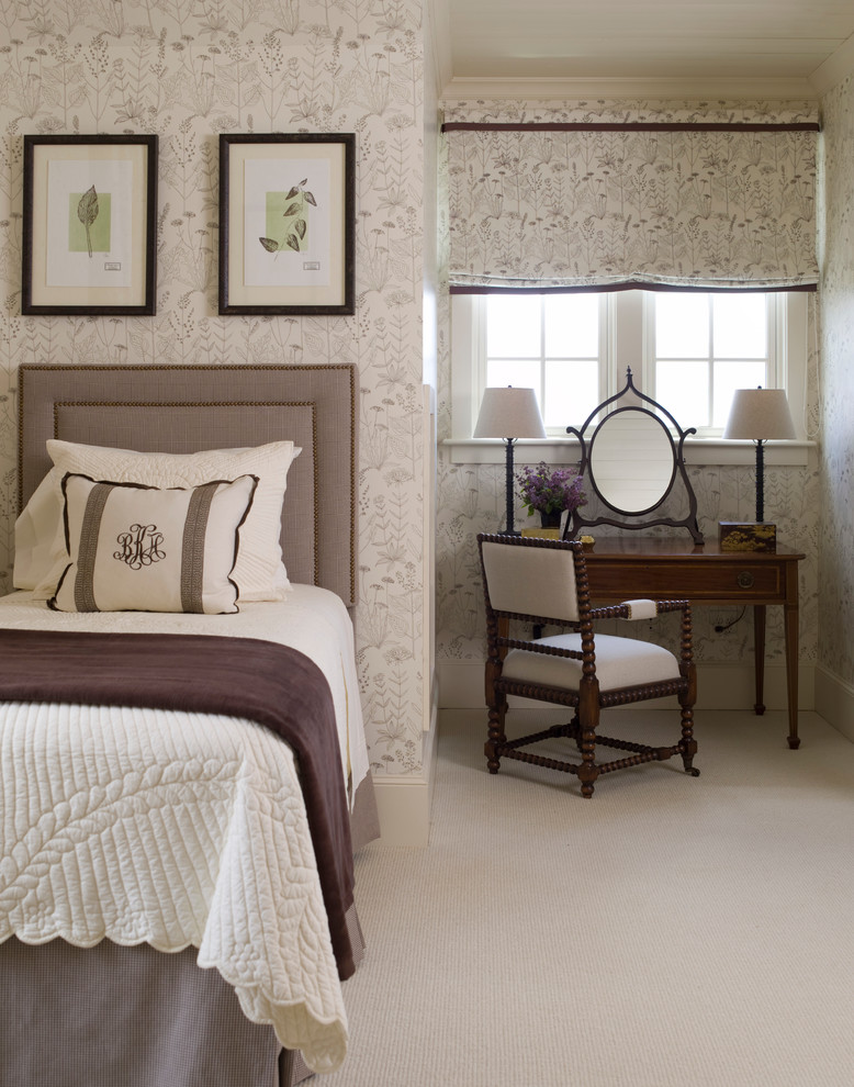 Inspiration for a large timeless guest dark wood floor bedroom remodel in Raleigh with white walls