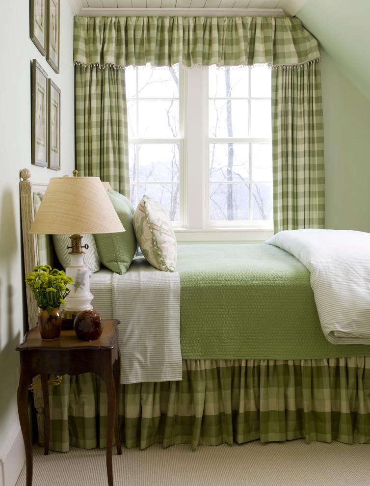 Bedroom - large traditional guest dark wood floor bedroom idea in Raleigh with green walls