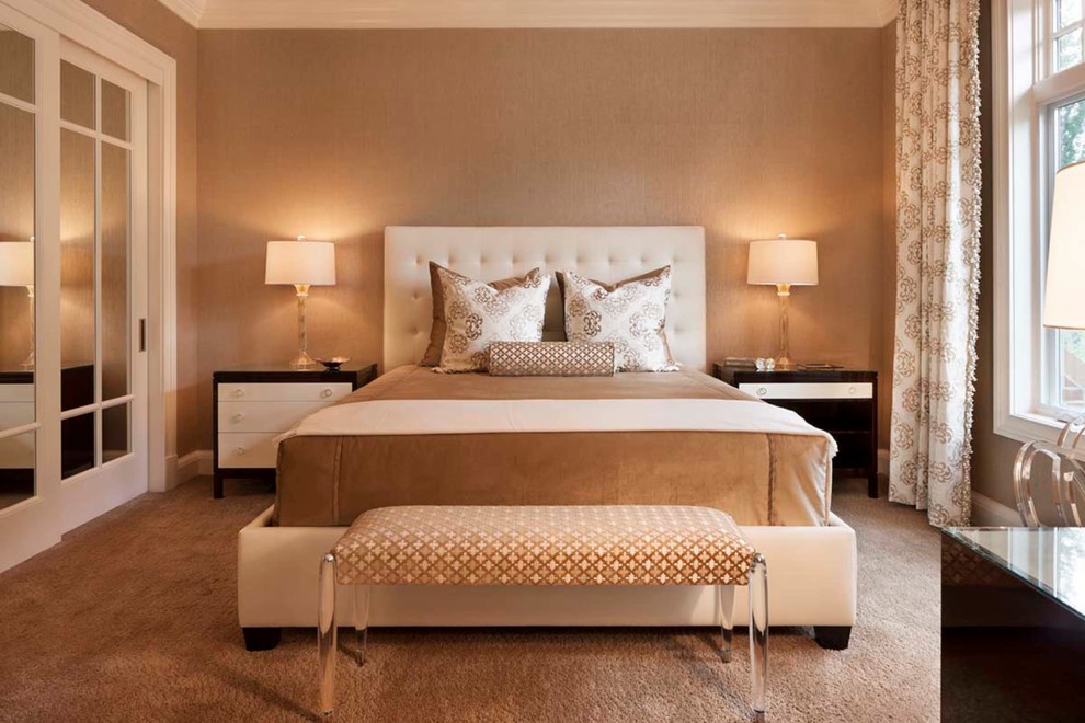 Inspiration for a transitional carpeted bedroom remodel in Denver with beige walls and no fireplace