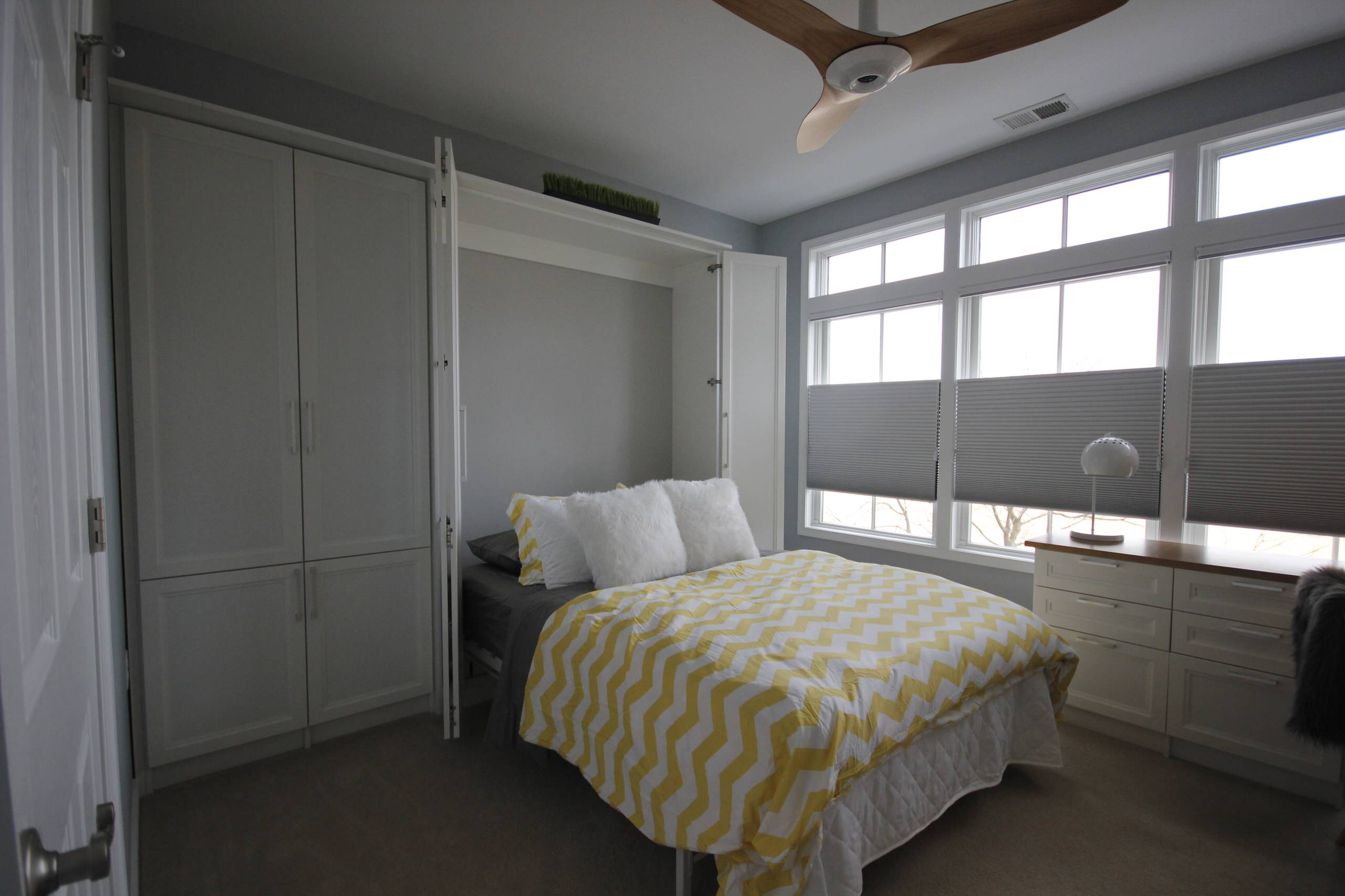 Multifuction guest bedroom with custom murphy bed & home office