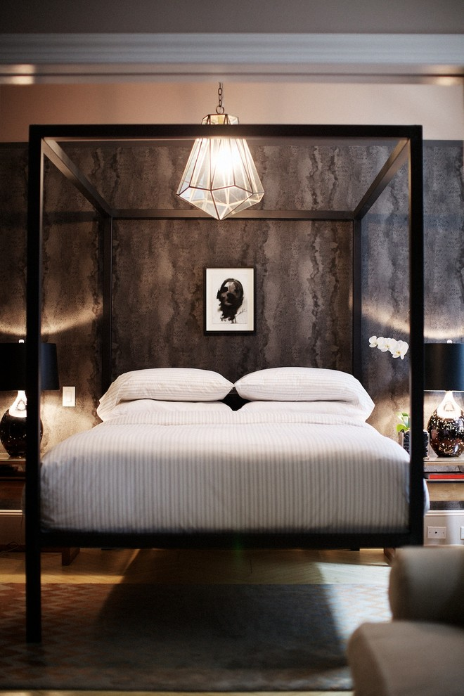Example of a trendy bedroom design in New York with gray walls