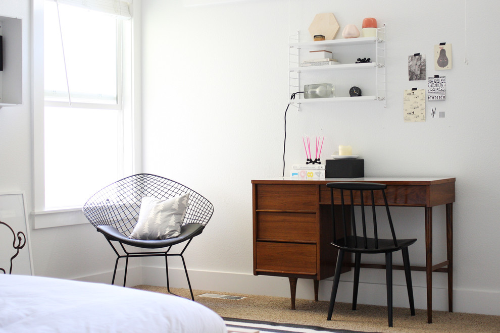 Inspiration for a scandinavian carpeted bedroom remodel in Boise with white walls