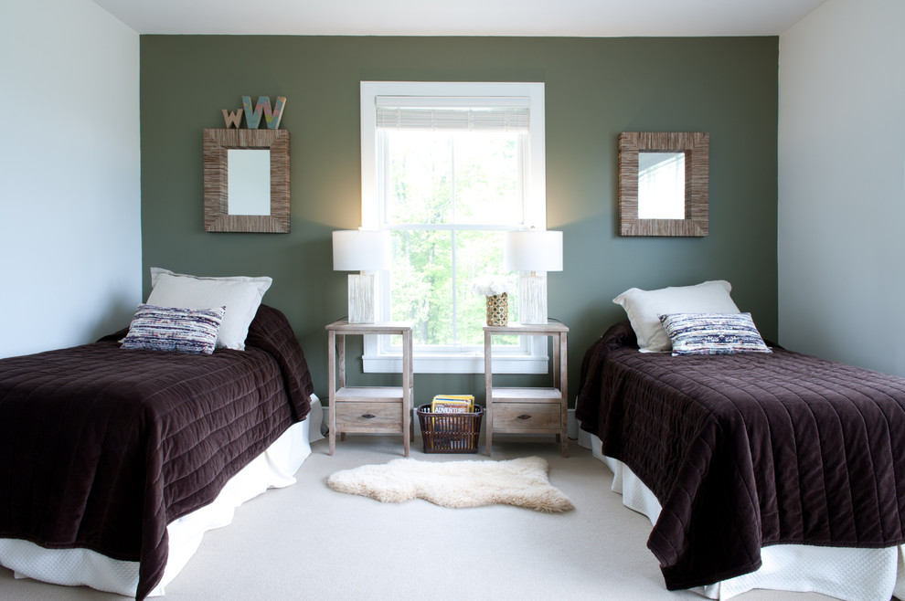 Inspiration for a contemporary bedroom remodel in Boston with green walls