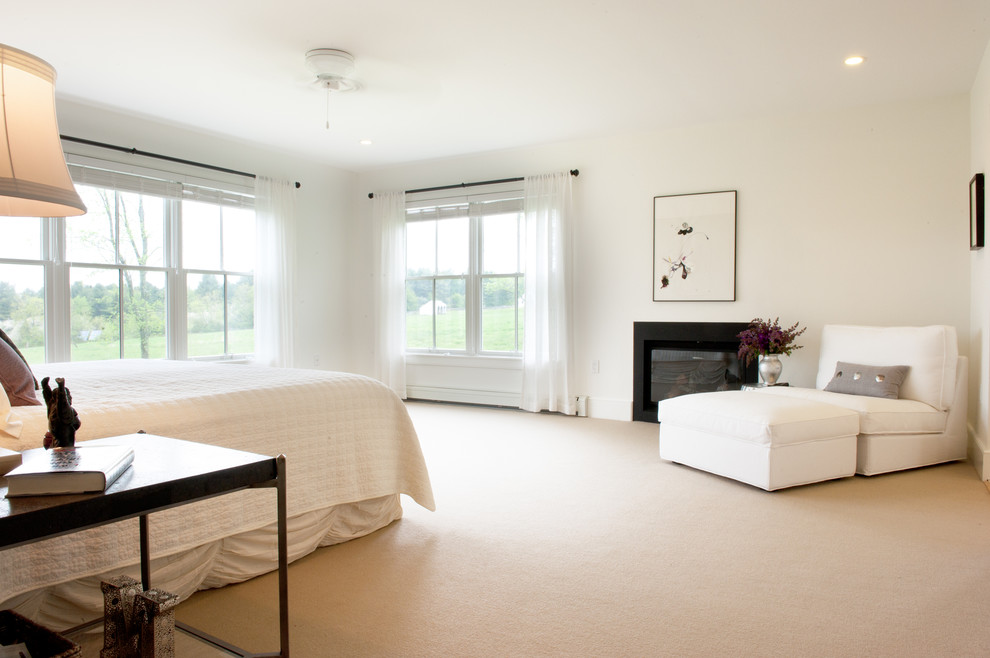 Bedroom - contemporary carpeted bedroom idea in Boston with white walls