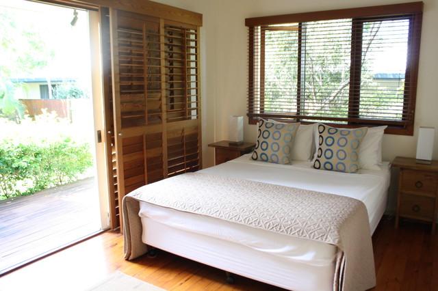 Mediterranean bedroom idea in Brisbane with white walls. Caribbean Inspired   Houzz